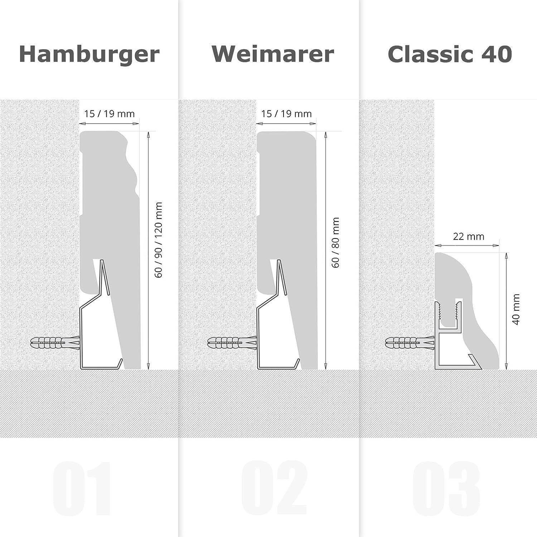 Clips 30 Stück für Sockelleisten Hamburger Weimerer Profil Fussleisten