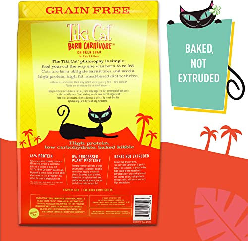 Tiki Cat Born Carnivore Grain-Free, Low-Carbohydrate Dry Cat Food Baked with Fresh Meat, Chicken Luau
