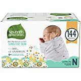 Seventh Generation Baby Diapers for Sensitive Skin, Animal Prints, Size 0 Newborn, 144 count