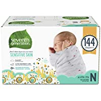 Seventh Generation Baby Diapers for Sensitive Skin, Animal Prints, Size 0 Newborn...