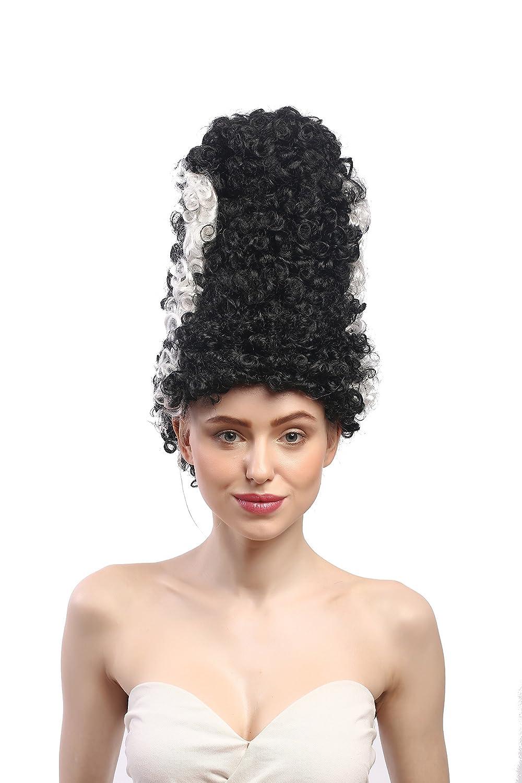 WIG ME UP ® - 90903-ZA103-ZA62 Peluca señoras Halloween Carnaval Novia de Frankenstein, Peinado Colmena Torre, Negro, Raya Blanca: Amazon.es: Juguetes y ...