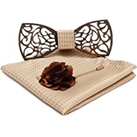 Axlon Men Wooden Style Bow Tie (WD_Flower, Free Size)