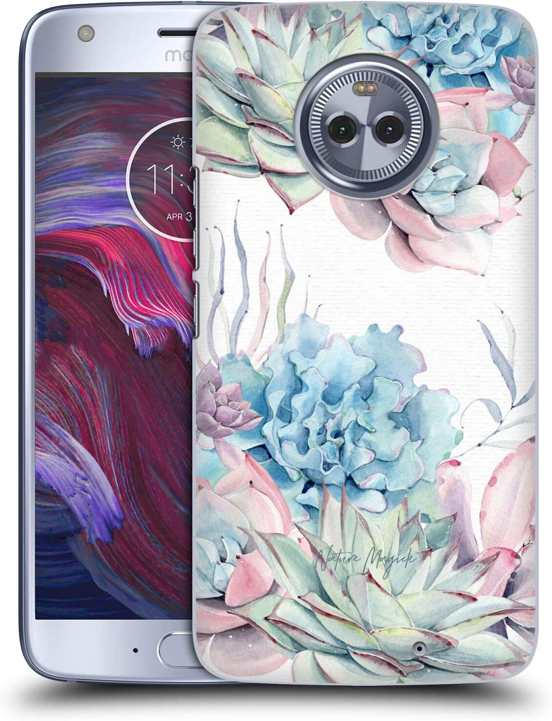 Head Case Designs Officially Licensed Nature Magick Green Purple Pink Succulents Watercolor Hard Back Case Compatible with Motorola Moto X4