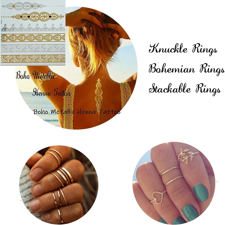 YADOCA 52 St/ücke Gold Knuckle Ringe f/ür Frauen M/ädchen Vintage Stapelbar Finger Midi Ringe Damen Mode Ring Set Boho Schmuck Midi Ring Nagel