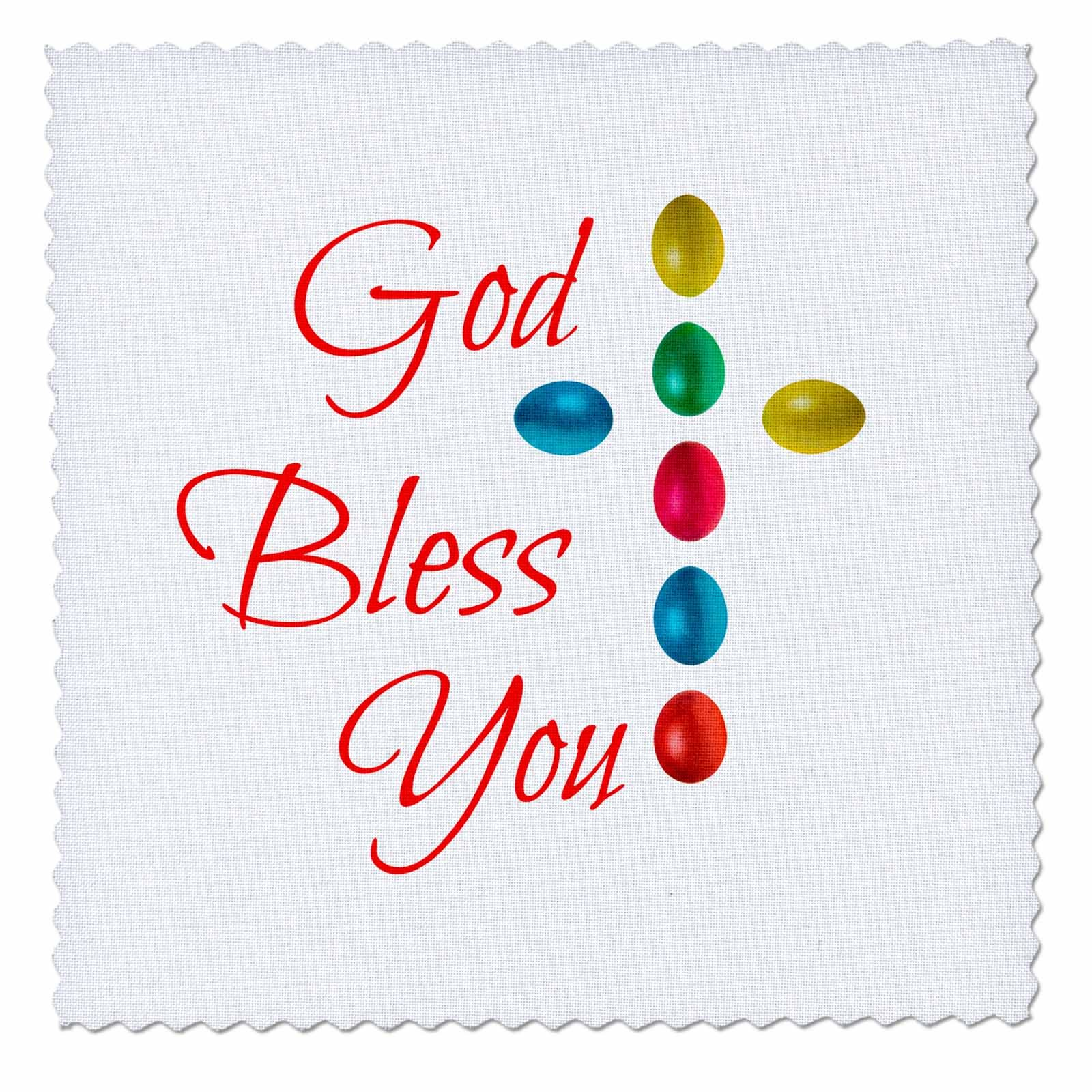 3dRose Alexis Design - Holidays Easter - God bless you text and cross of colorful Easter eggs on white - 12x12 inch quilt square (qs_271651_4)