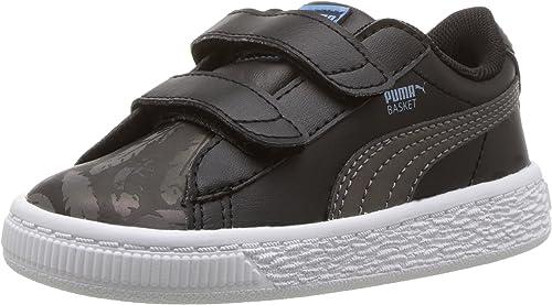 PUMA Kids' Basket Swan V Inf Sneaker, Black, 4 M US Toddler