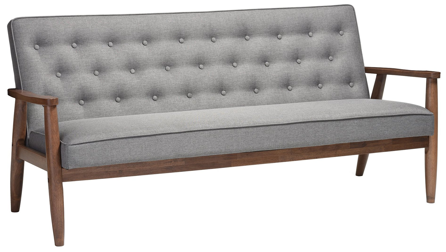 Baxton Studio Sorrento Mid-Century Retro Modern Fabric Upholstered Wooden 3-Seater Sofa, Grey by Baxton Studio