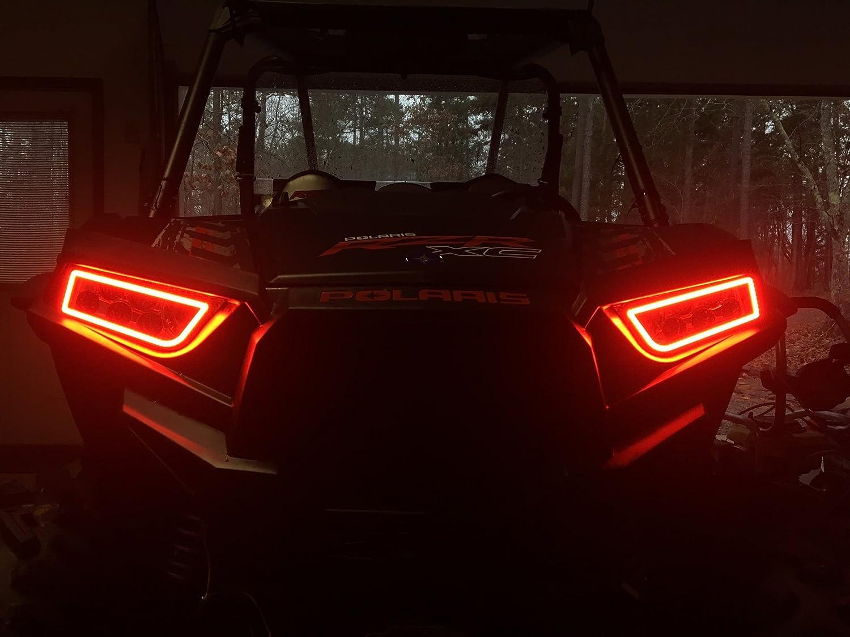 Orange eastoffroad General 1000 Polaris Halo Rings Set Headlights Angel Eye Led