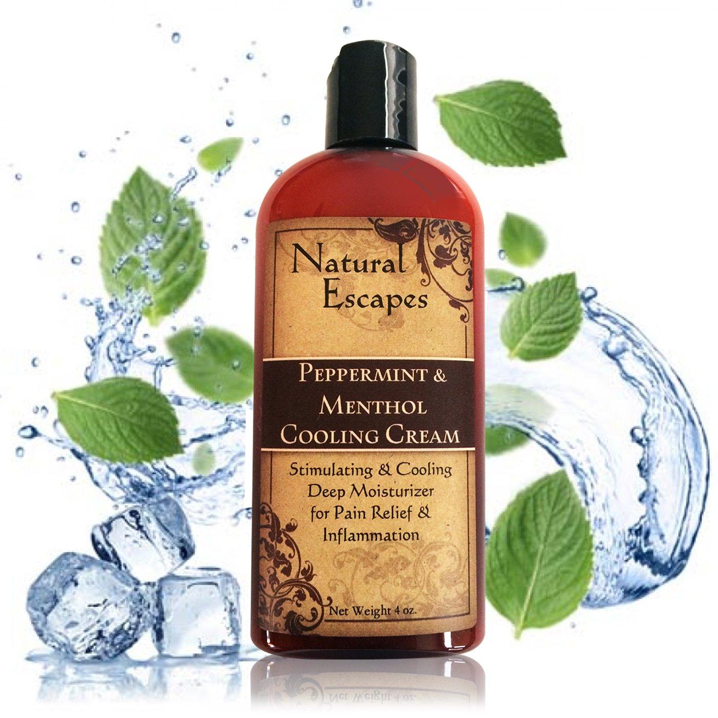 Organic Peppermint, Camphor & Menthol Cooling Cream   Natural Pain Relief Cream for Arthritis, Shingles, Foot Pain, Sciatica & More   Anti-Inflammatory Cream   4 oz
