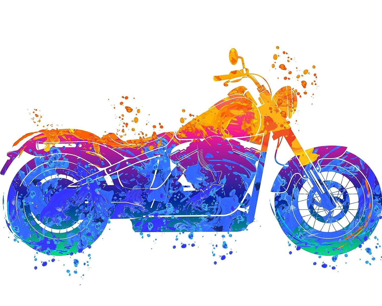 Harley Davidson Water Color Print - Vibrant Wall Art Decor Poster Biker Gift - Harley Davidson Birthday Gifts for Men Women Dad…