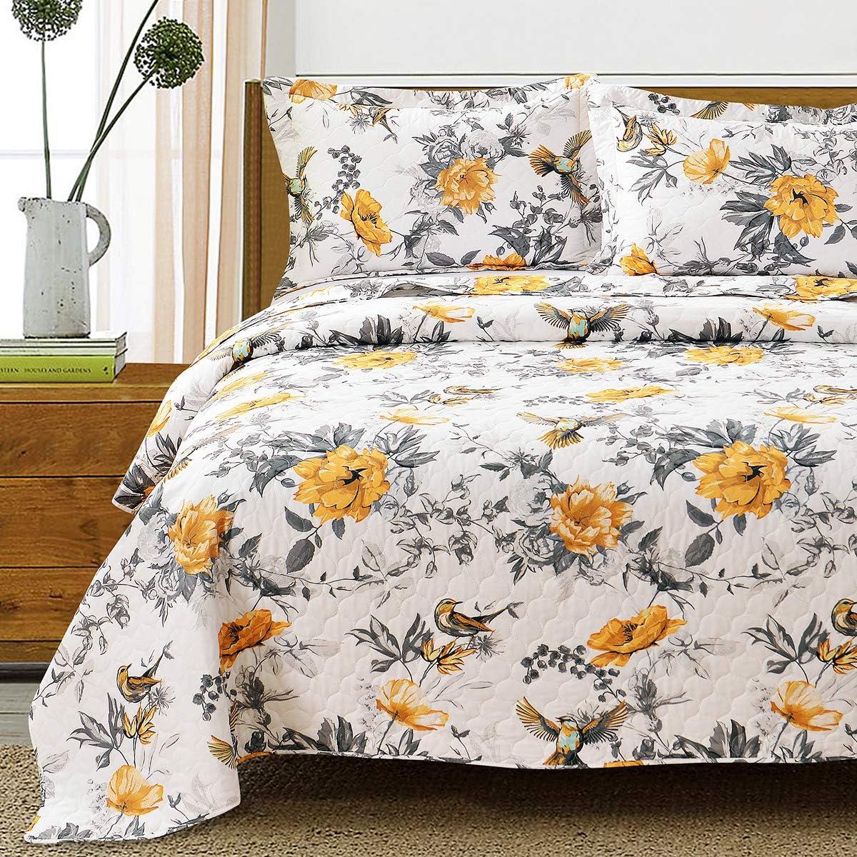 ARL Home King Size Quilts Set 3 Pcs Patchwork Reversible Bedding Set Vintage Floral Bird Lightweight Bedspread Coverlet Set for All Season (1 Quilt, 2 Pillow Shams)