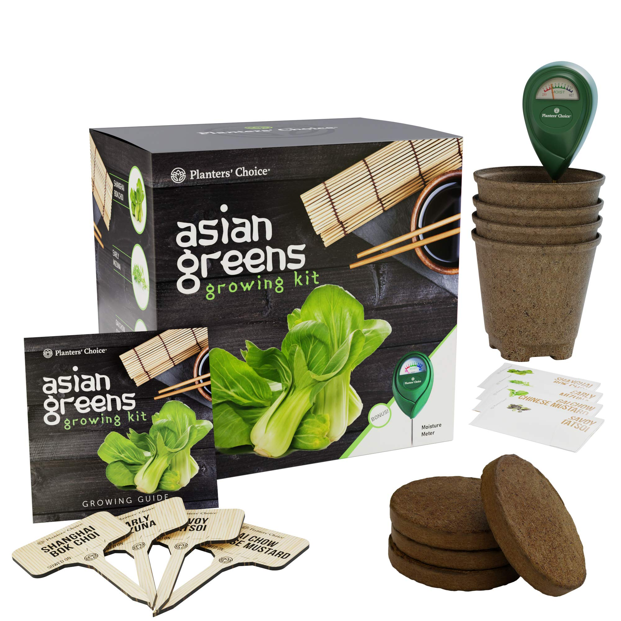 Asian Greens Growing Kit - Everything Included to Easily Grow 4 Traditional Asian Greens from Seed + Moisture Meter: Bok Choi, Mizuna, GAI Chow, Savoy Tatsoi by Planters' Choice (Image #7)