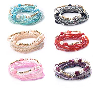 7fc13bfae3c64 Amazon.com: YYCEN Multilayer Bohemian Beaded Bracelets for Women ...