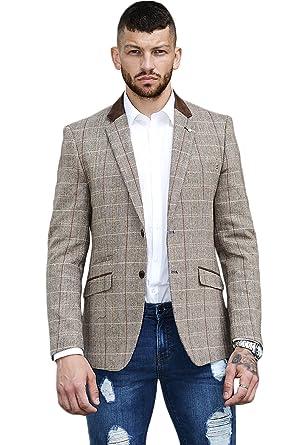Cavani Chaqueta americana para hombre, corte ajustado, mezcla de lana, tejido tweed de espiguilla, chaqueta formal, 5 estilos: Amazon.es: Ropa y accesorios