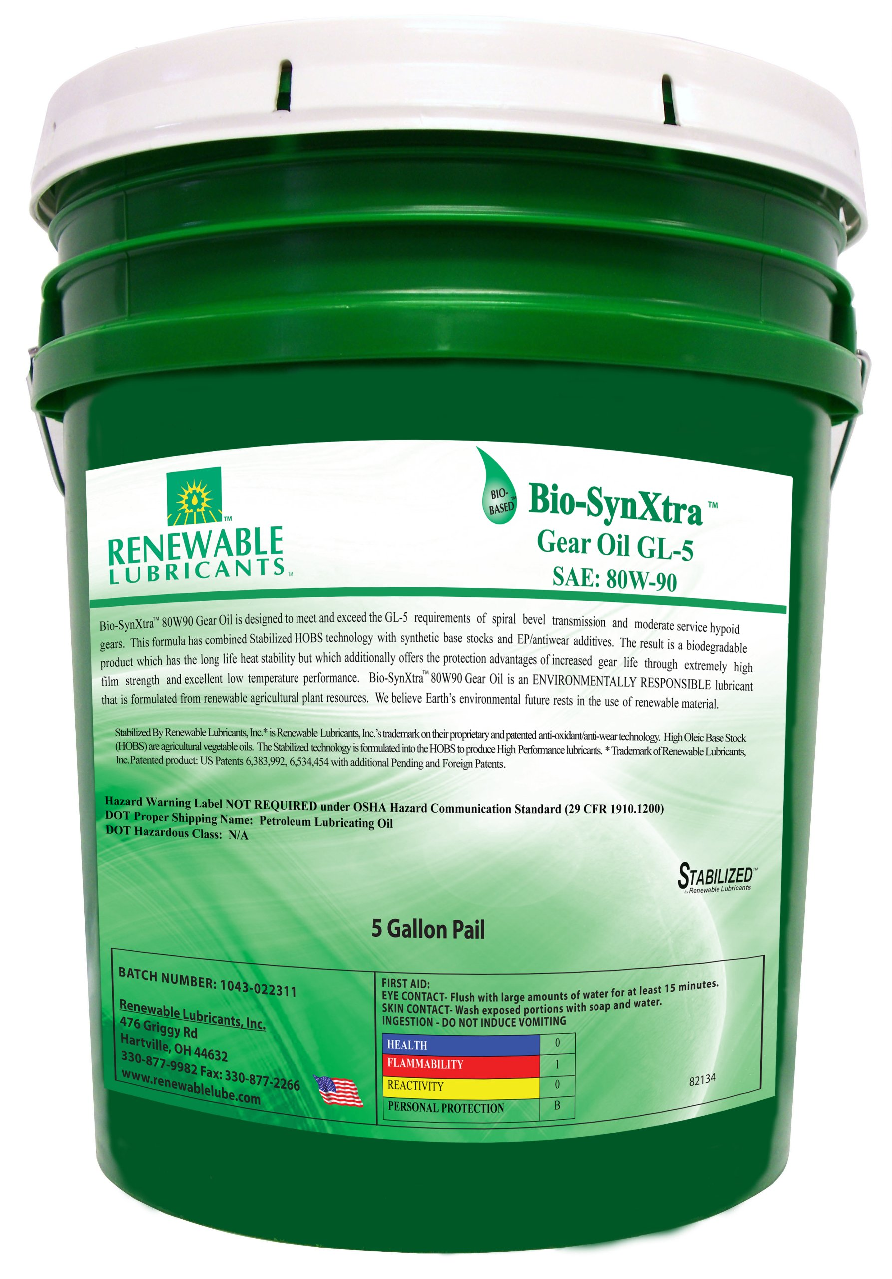 Renewable Lubricants Bio-SynXtra GL-5 Gear Lubricant, 5 Gallon Pail by Renewable Lubricants