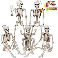 Posable Halloween Skeletons, Full Body Posable Joints Skeletons 5 Packs for Halloween Decoration, Graveyard Decorations…