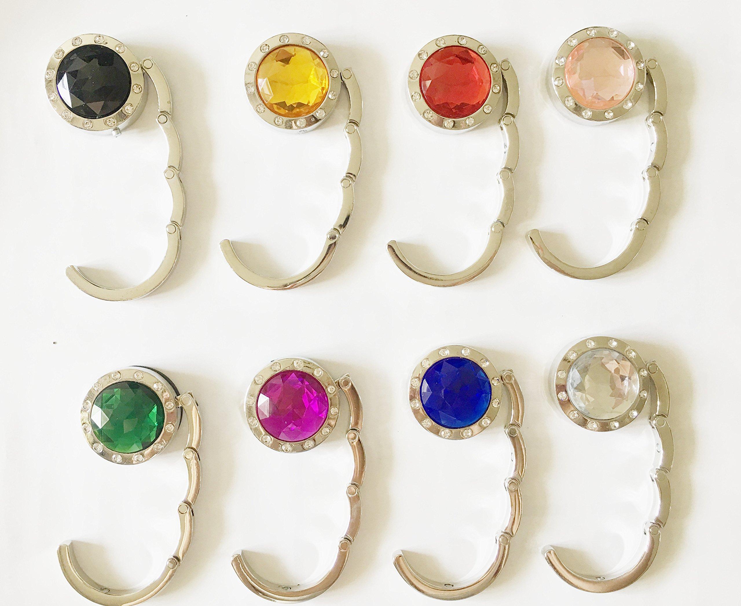 Zungtin 8 pcs Colorful Purse Hooks Crystal Diamond Folding Storage Handbag Hook