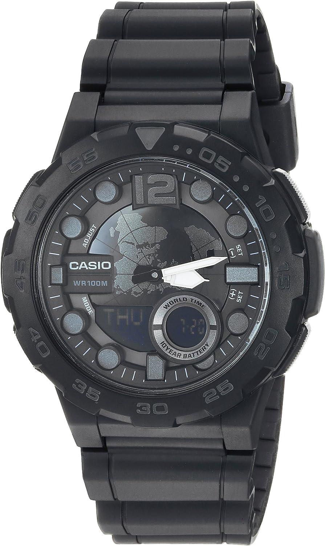 Casio reloj clásico de cuarzo Casual para hombre, de resina y acero inoxidable, color: negro (modelo:AEQ-100W-1BVCF)