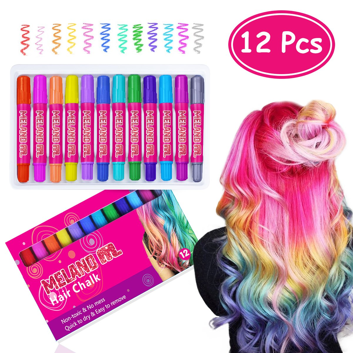 Meland Temporary Hair Chalk Set - 12 Colors Non Toxic Hair Chalk Pens, Hair Dye for Kids Girls and Adults Party Gift