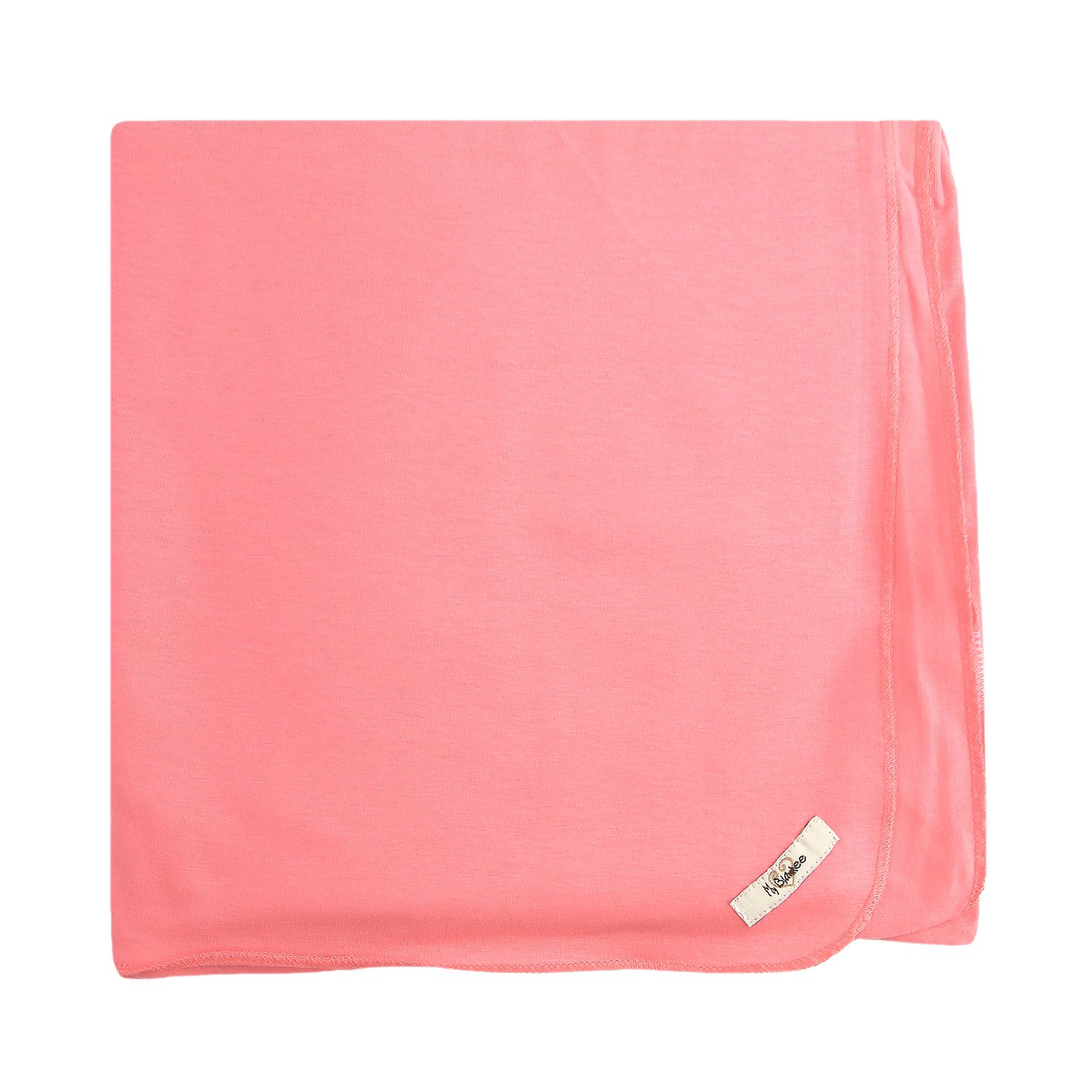 My Blankee Organic Cotton  Jersey Knit Swaddle Baby Blanket, 47'' X 47'', Coral