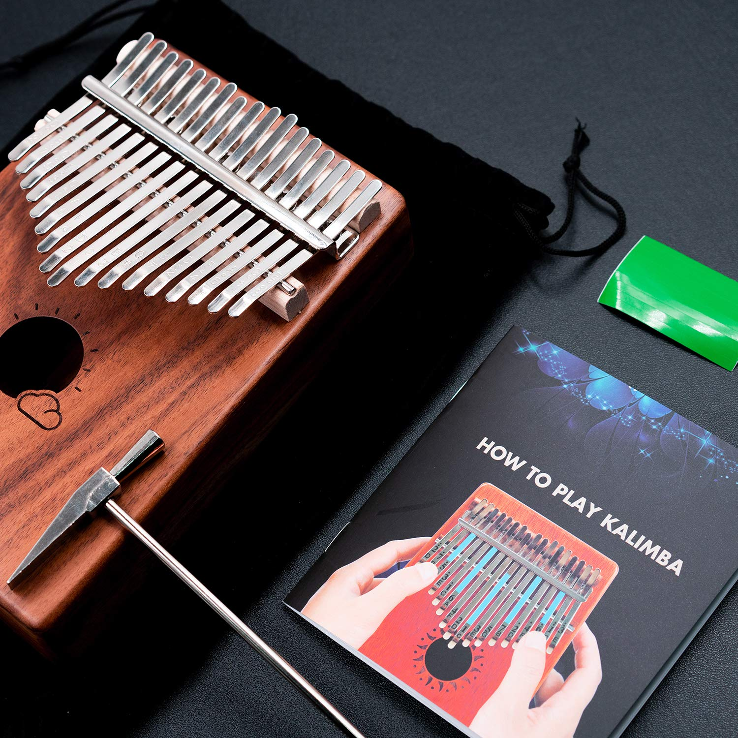 Kalimba 17 Keys Thumb Piano Solid Wood Finger Piano Musical Instrument with Study Instruction,Tuning Hammer,Gift for Kids Adult Beginners Professional without any musical basis(Dark Brown) by Tripolar (Image #2)