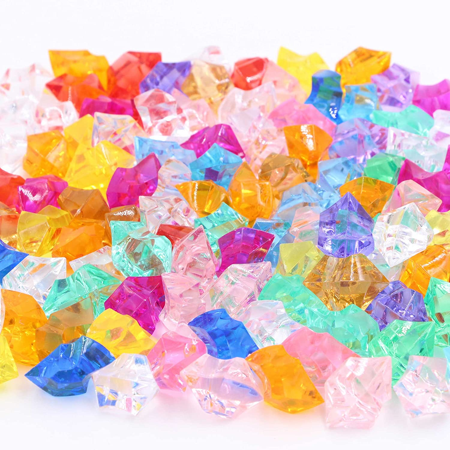 LeBeila Acrylic Gems Stones Colorful Ice Rocks Jewels Faux Decorative Crystal Gemstones for Vase Filler, Wedding Decoration, Party Event, Table Scatter, Aquarium Decor (100pcs, Multi-Color)