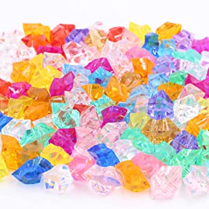 Acrylic Gems Stones - Colorful Ice Rocks Jewels Faux Decorative Crystal Gemstones for Vase Filler, Art Craft, Wedding Decoration, Party Event, Table Scatter, Aquarium Decor (50pcs, Multi-Color)
