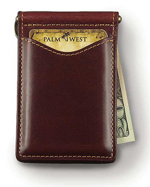 Palm West 225RFID-BU Men's Premium Leather, Minimalist Money Clip Bifold Wallet, RFID Blocking