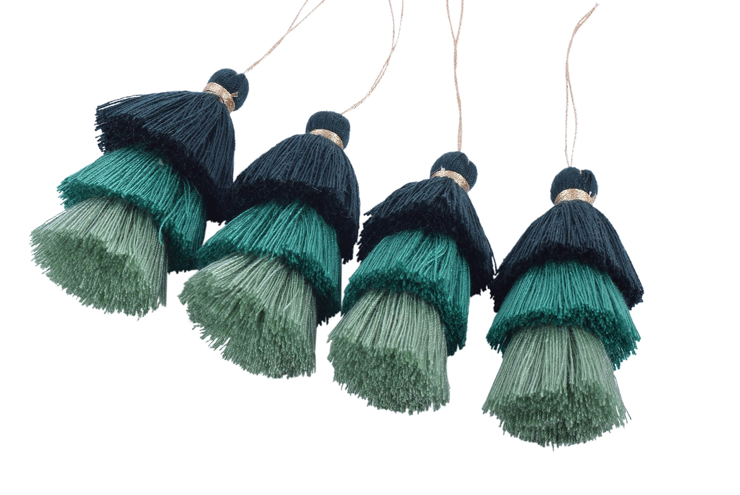 KONMAY Bulk 20pcs Tri-Layered Tassels with Hanging Loop for Jewelry Making, Clothing by KONMAY