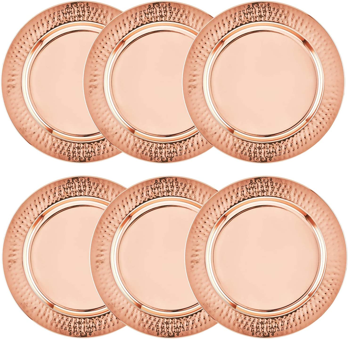 Colleta Home Copper Charger Plate 6 Pack 13 Inch Rose Gold Charger With Hammered Rim Copper Charger Plate Set Amazon Ca Home Kitchen