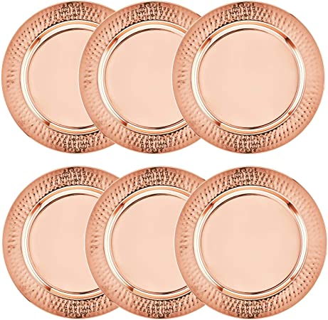 """Rose Gold Copper 20/"""" Traditional Moroccan Indian Handmade Serving Charger Tray"""