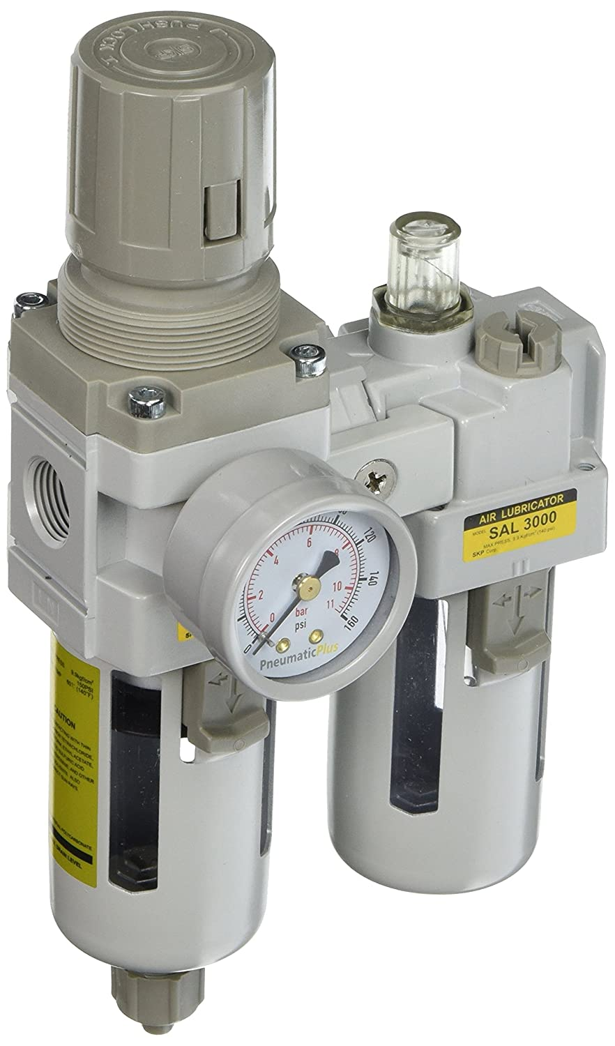 PneumaticPlus SAU3010M-N03G 2 Piece Compressed Air Filter Regulator Lubricator Combination, 3/8' Pipe Size, NPT-Manual Drain, Poly Bowl, 10 m with Gauge 3/8 Pipe Size