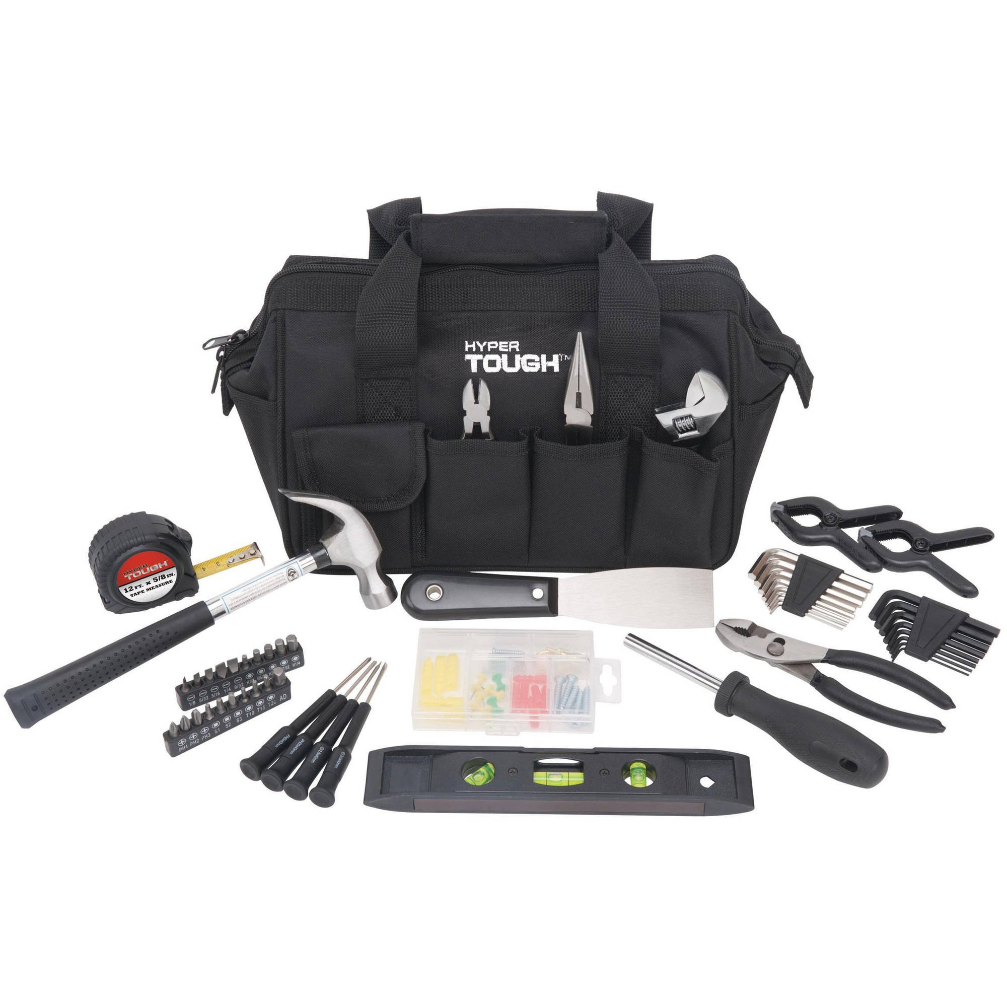 Hyper Tough 53-Piece Around the House Tool Set with Handy Tool Bag, Black