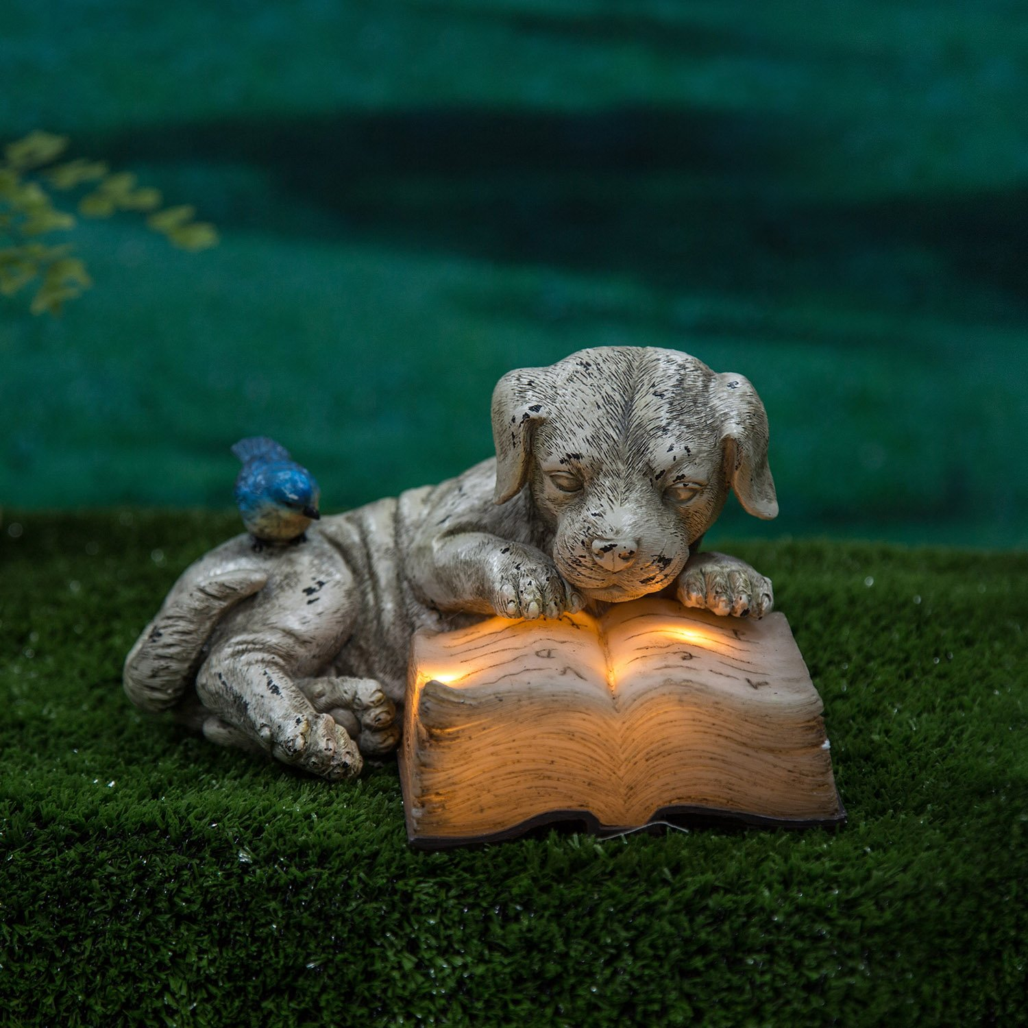 Ivy Home Schooling Resin Solar Power Outdoor Statuary,Dog read a Book