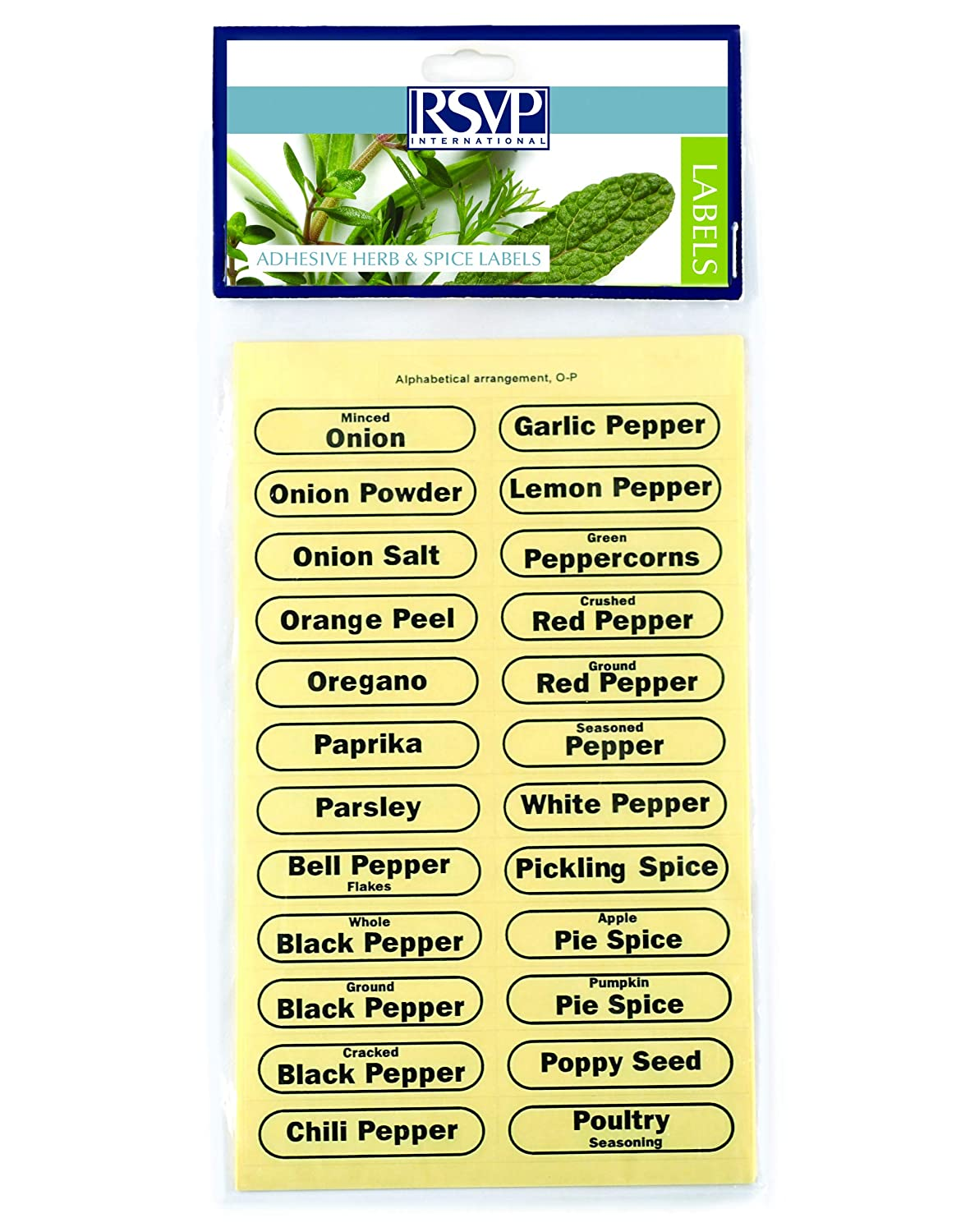 RSVP Clear Oval Adhesive Pre-Printed Spice /& Herb Jar Labels 2 Sets Of 96