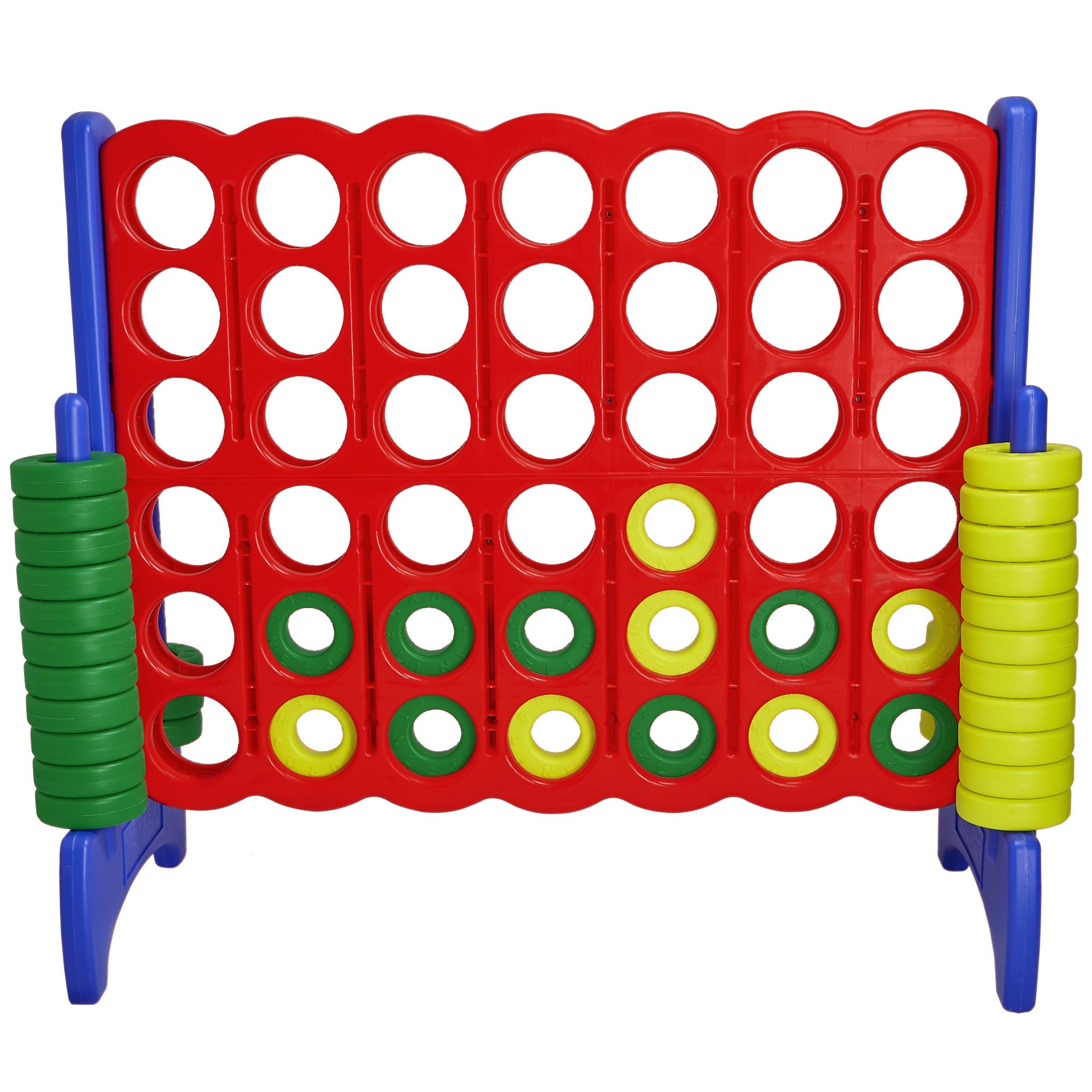 Giant 4 in a Row Connect Game - 4 Feet Wide by 3.5 Feet Tall Oversized Floor Activity for Kids and Adults - Jumbo Sized for Outdoor and Indoor Play - by Giantville, Blue/Red by Giantville (Image #4)