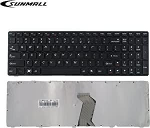 SUNMALL Keyboard Replacement with Frame Compatible with Lenovo Ideapad G580 G580A G585 G585A V580 V585 Z580 Z580A Z585 Z585A N580 N581 N585 N586 Series Laptop Black US Layout