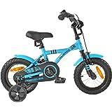 """PROMETHEUS Vélo enfant pour fils 12 pouces en bleu & noir avec petites roues   Frein à tirage et frein à rétropédalage   à partir de 3 ans   12"""" BMX Edition 2017"""