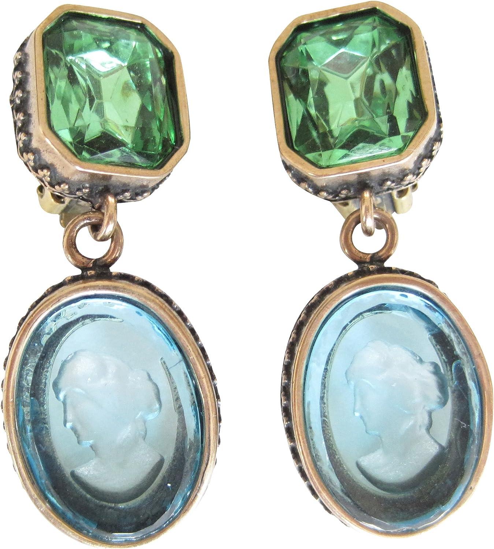 Pendientes de clip verdes y azules con piedras verdes y cuadradas muy grandes, de cristal azul claro, hecho a mano, diseño EXTASIA