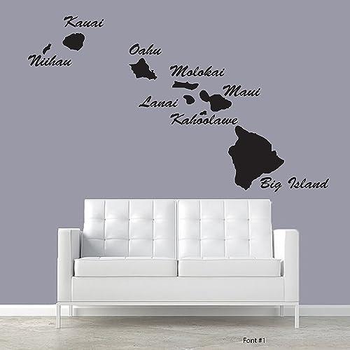 Hawaiian islands large hawaii décor wall decal custom living room bedroom hallway vacation surfing fishing beach