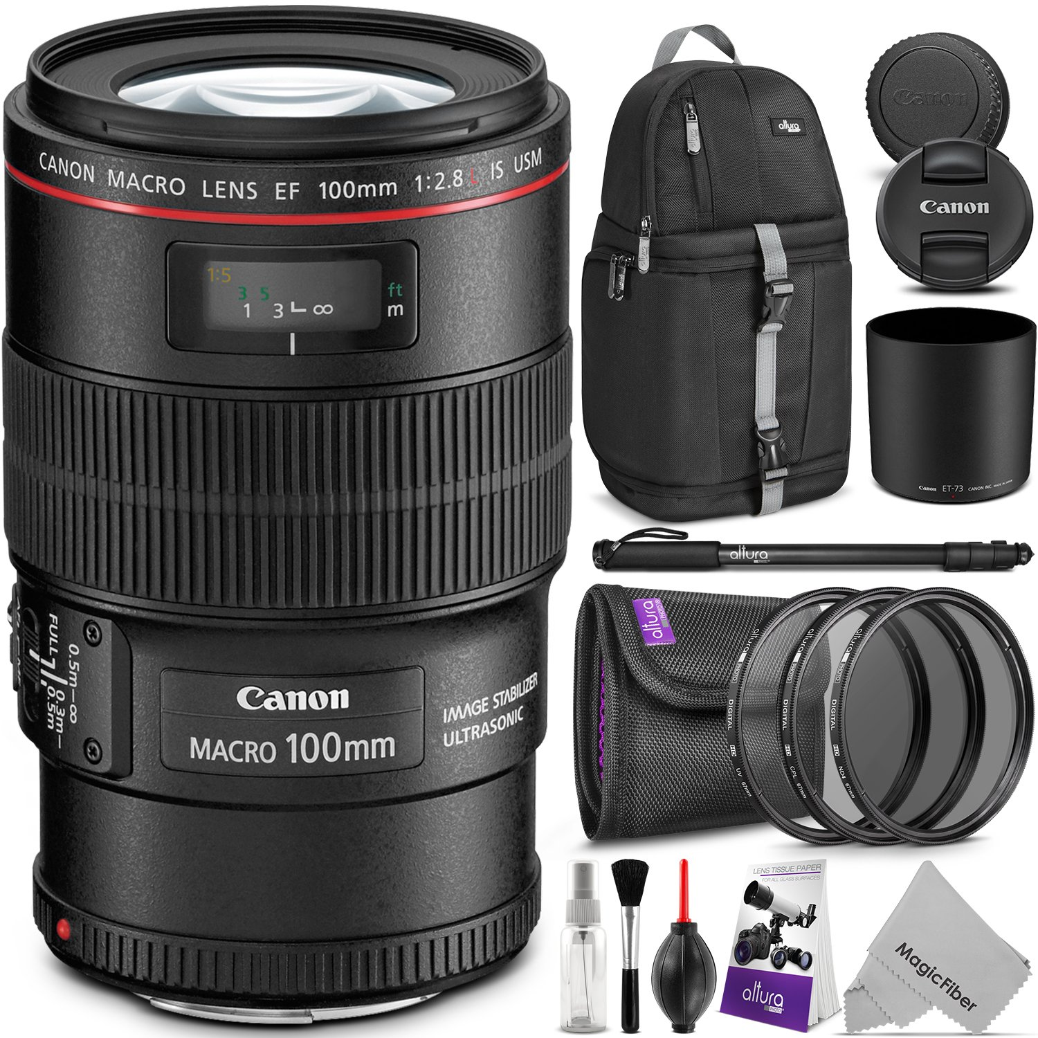 Canon EF 100mm f/2.8L IS USM Macro Lens w/ Advanced Photo and Travel Bundle - Includes: Altura Photo Sling Backpack, Monopod, UV-CPL-ND4, Camera Cleaning Set by Goja