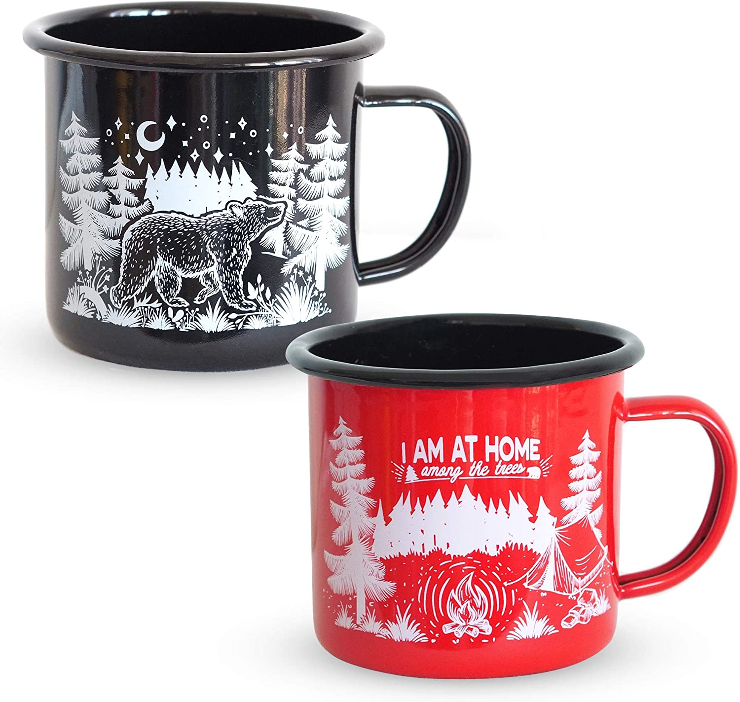 Enamel Mugs - Great as Tea Cup, Coffee Mug or Soup mug - Amazing for Coffee Gifts or Trailer Accessories - our Travel Mugs are Great for Vintage Kitchen Decor and Accessories -16 oz Coffee Mugs 2PCS