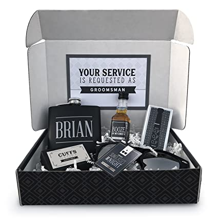 M Mailbox Melodies Will You Be My Groomsman Box Personalized Best Man Proposal Gift Groomsmen Gift Wedding Party Gift Full Gift Set Black