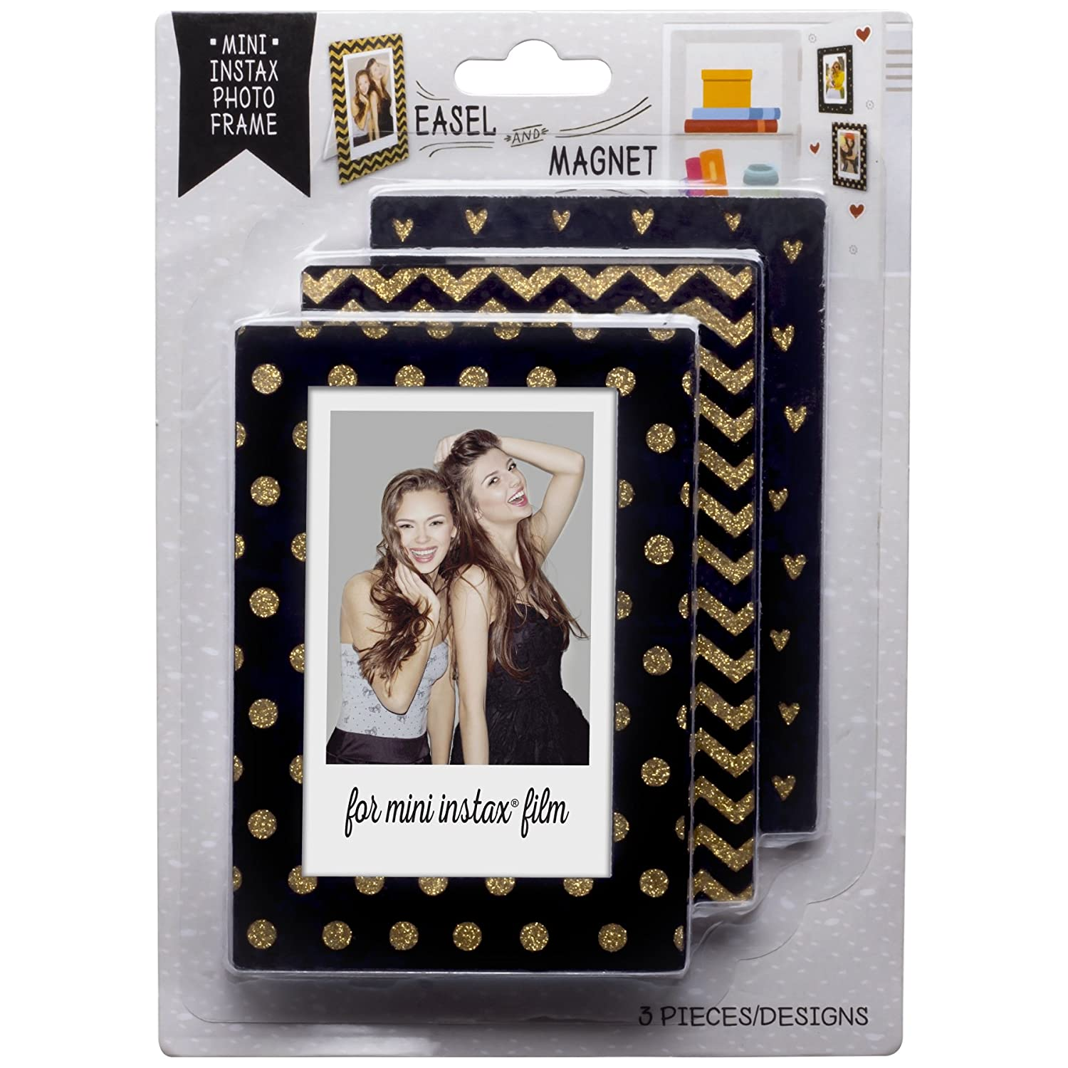 Neil Enterprises, Inc Mini Instax Magnet Photo Frames (Black and Gold, 3)