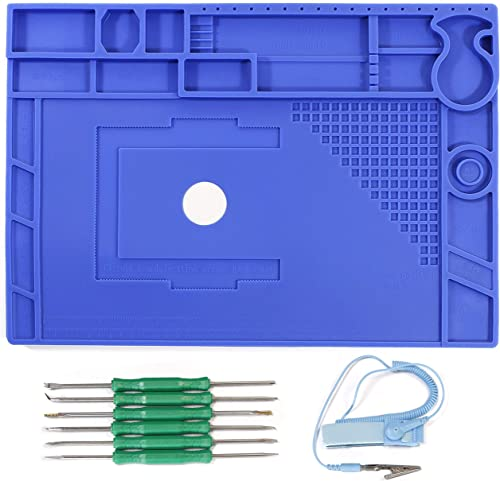 YIHUA M180 Premium Large Insulated Silicone Work Pad Mat 932 , with Mag. Divisions for Soldering Electronics Repair, come with Anti-Static Wrist 6pcs Soldering Aid Kit, Size 17.32×12.20 Inches-blue