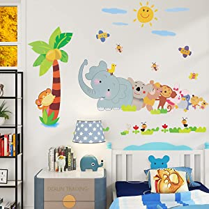 DERUN TRADING Animal Train and Hot Air Balloons Kids Wall Decals Wall Stickers Peel and Stick Removable Wall Stickers for Kids Nursery Bedroom Living Room