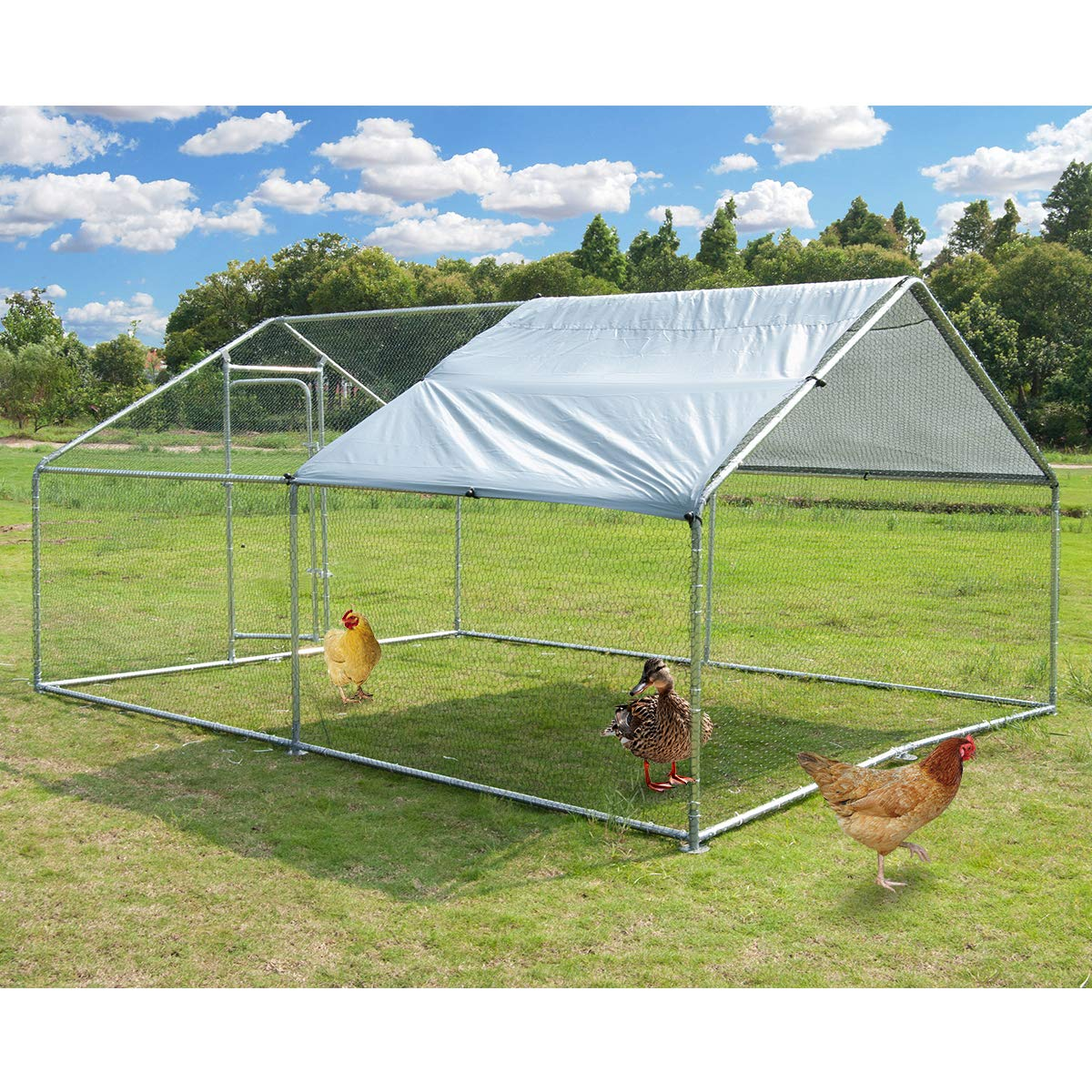 Large Metal Chicken Coop Walk-in Poultry Cage Hen Run House Rabbits Habitat Cage Spire Shaped Coop with Waterproof and Anti-Ultraviolet Cover for Outdoor Backyard Farm Use (10' L x 13' W x 6.4' H) by Polar Aurora