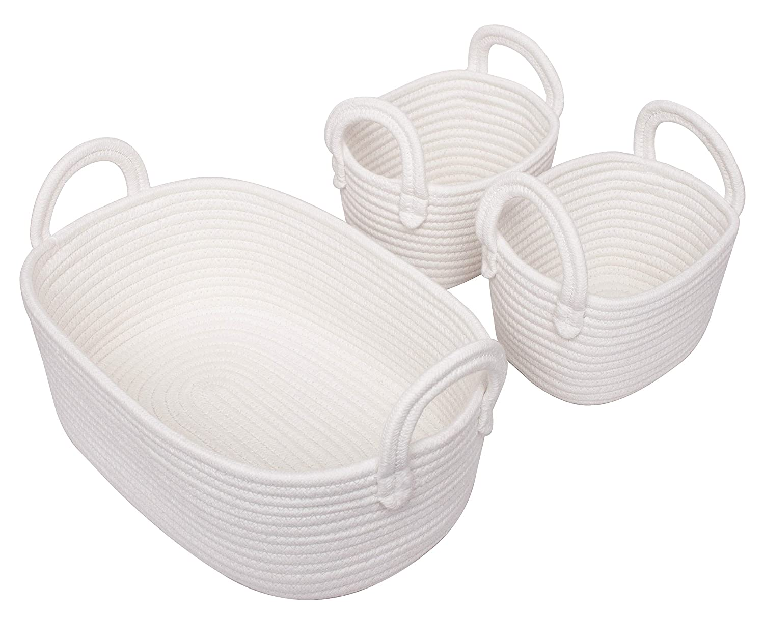 Cotton Rope Storage Baskets, Set of 3 Toy Organizer for Woven Nursery Decor, Gift Basket LA JOLIE MUSE