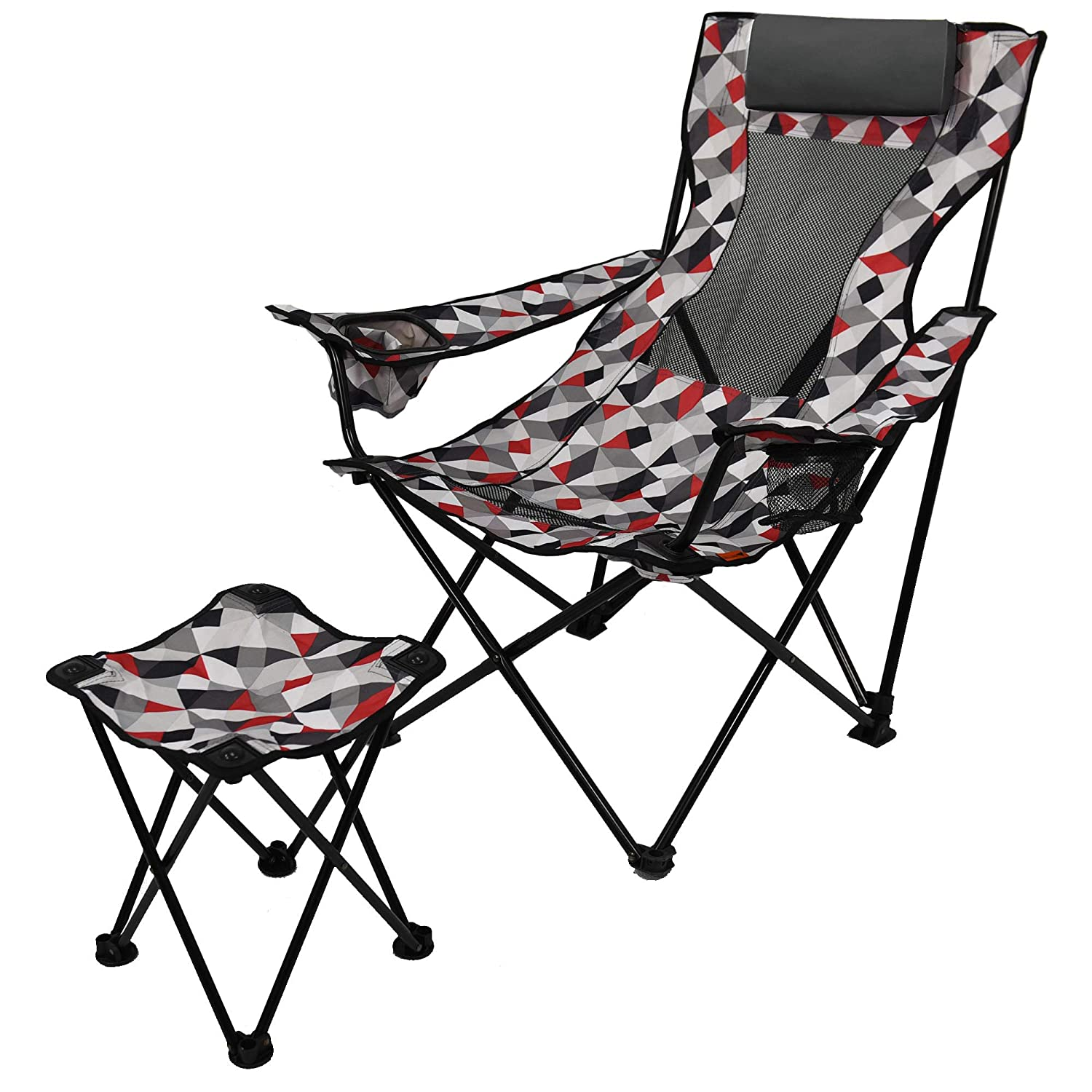 Breathable and Comfortable Ozark Trail Ot Lounge Chair with Detached Footrest,Padded Pillow Headrest,Convenient Cup and Cell Phone Holder,Perfect for Camping and Outdoor Events