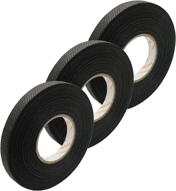 3x Tape Klebeband Vlies Rolle 25m x 9mm Gewebeband 105/° KFZ Elektrik 0,106/€//m